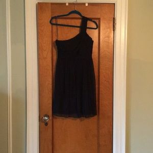 Jcrew Navy Chiffon one shoulder bridesmaid dress